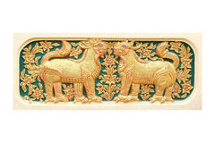 Traditional Thai style art of stucco 12 zodiac Royalty Free Stock Images