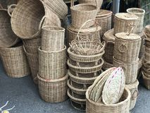 Traditional Thai Style Baskets Weave Sell at Market.  Royalty Free Stock Image