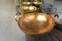 Traditional thai style brass pan royalty free stock photos