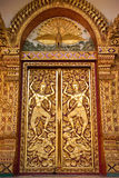 Traditional  Thai style Buddhist church door Royalty Free Stock Image