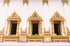 Traditional Thai style church windows at Wat Suwandararam Temple Royalty Free Stock Photos