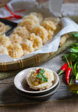 Traditional thai style food :Crispy rice cake and pork and shrim Royalty Free Stock Image