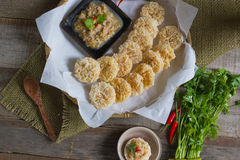 Traditional thai style food :Crispy rice cake and pork and shrim Stock Photography