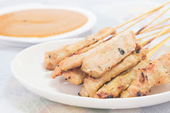 Traditional Thai style grilled pork , Moo Satay Stock Photo