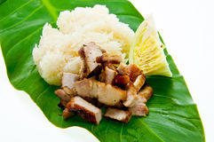 Traditional Thai style grilled pork with rice Stock Photos