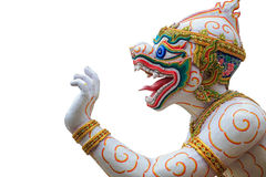 Traditional Thai style Hanuman or monkey statue in public temple. In Thailand. Isolated on white background. Save with clipping path Stock Photo