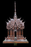 Traditional Thai style model house wood carving isolated on black Royalty Free Stock Photo