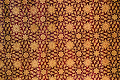 Traditional Thai style painting art pattern on the wall.  Royalty Free Stock Images