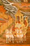 Traditional Thai style painting art on temple wall Royalty Free Stock Photos