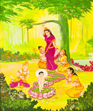 Traditional Thai style painting art on temple wall royalty free stock images