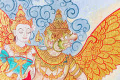 Traditional Thai style painting art on temple wall Stock Photography