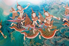 Traditional thai style painting image on the wall temple. Is can meet general public places in Thailand Royalty Free Stock Photography