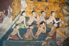 Traditional Thai style painting on the temple wall Royalty Free Stock Images