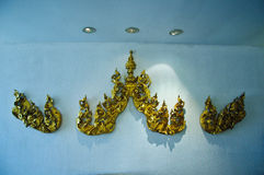 Traditional Thai style pattern decorative  on wall in temple Stock Photos