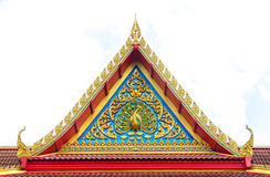 Traditional Thai style pattern on the roof in temple Stock Photos