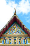 Traditional Thai style pattern on  Thai temple roof with blue an Royalty Free Stock Image