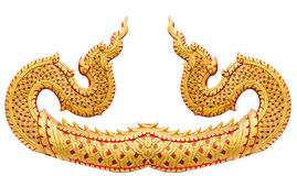 Traditional Thai style pattern of trail great Naga stucco isolat. Ed on white background in temple at Thailand Stock Photo
