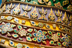 Traditional Thai style pattern at Wat Phra Kaeo, Temple of Emera Stock Photos