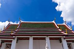 Traditional thai style roof temple Stock Photos