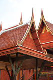 Traditional Thai style roofs and gables. Ancient traditional Thai style house Stock Photography