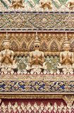 Traditional thai style sculpture art. Golden plate square, used to decorate religious buildings in Thailand Stock Photo