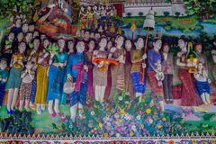 Traditional Thai style sculptures and painting in church under decoration of Wat Pariwat Temple Stock Image