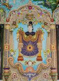 Traditional Thai style sculptures and painting in church under decoration of Wat Pariwat Temple Stock Images