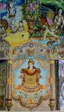 Traditional Thai style sculptures and painting in church under decoration of Wat Pariwat Temple Royalty Free Stock Photography