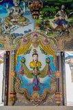 Traditional Thai style sculptures and painting in church under decoration of Wat Pariwat Temple Royalty Free Stock Images