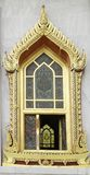 Traditional thai style temple window. In gold color Royalty Free Stock Photography