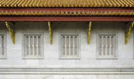 Traditional thai style temple window. With marble material Royalty Free Stock Photo