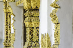 Traditional Thai style window with art decoration. On wall in temple Stock Photography