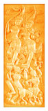 Traditional Thai style wood carving on the wall Royalty Free Stock Image