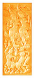 Traditional Thai style wood carving on the wall Stock Photo