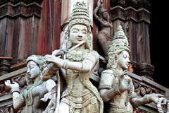 Traditional Thai style wood engraving. Thailand in the city of Pattaya the sanctuary of truth is a wooden construction high of 105 meter covered with wooden Stock Photography