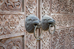 Traditional Thai style wooden door. Close up traditional Thai style wooden door Stock Photo