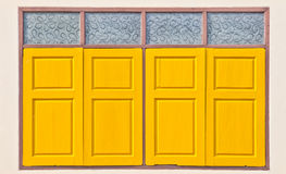 Traditional thai style yellow window Stock Photography