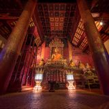 Traditional Thai Temple in Chiang Mai - Thailand. Inside of a Traditional Thai Temple in Chiang Mai - Thailand Royalty Free Stock Photography