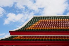 Traditional Thai temple roof. Trypical traditional Thai temple roof with 3colors combination Stock Photography