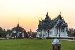 Traditional thai temples at sunset in ancient city, Bangkok. Thailand Royalty Free Stock Photo