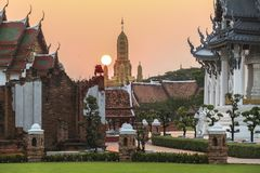 Traditional thai temples at sunset in ancient city, Bangkok Royalty Free Stock Images