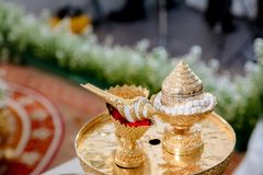 Traditional Thai Wedding ceremony atmosphere decoration and artifacts. stock image