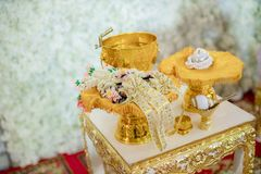 Traditional Thai Wedding ceremony atmosphere decoration and artifacts. golden tray with pedestal and the others. royalty free stock photo