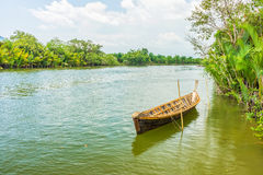 The traditional Thai wooden boat Royalty Free Stock Photography