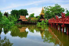 Traditional Thai Wooden House. In Bangkok stock images