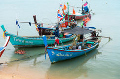 Traditional thai wooden long-tail fishing boats Royalty Free Stock Photography