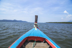 Traditional Thai wooden longtail boat in Andaman sea Royalty Free Stock Photography