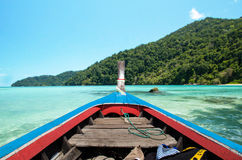 Traditional Thai wooden longtail boat in Andaman sea Stock Photography