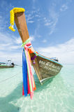 Traditional Thai Wooden Longtail Boat Bamboo Island Krabi Thailand Stock Image