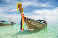 Traditional Thai Wooden Longtail Boat Bamboo Island Krabi Thailand Royalty Free Stock Images
